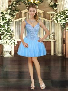 Fitting V-neck Sleeveless Lace Up Evening Dress Light Blue Tulle