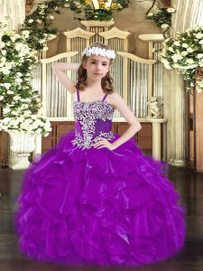 Sleeveless Lace Up Floor Length Beading and Ruffles Pageant Dress Wholesale