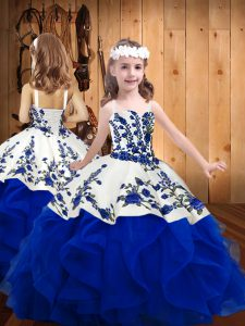 Royal Blue Sleeveless Floor Length Embroidery and Ruffles Lace Up Little Girls Pageant Gowns