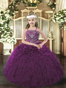 Dark Purple Pageant Dress Party and Quinceanera with Beading and Ruffles Straps Sleeveless Lace Up