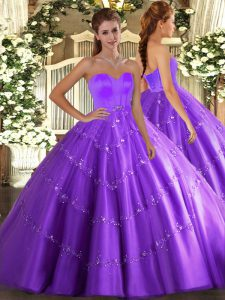 Luxurious Eggplant Purple Tulle Lace Up Sweetheart Sleeveless Floor Length Vestidos de Quinceanera Beading and Appliques