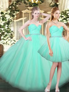 Low Price Sleeveless Ruching Lace Up Quince Ball Gowns