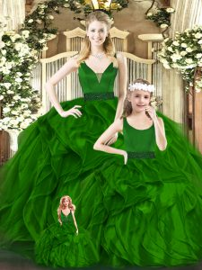 Green 15th Birthday Dress Military Ball and Sweet 16 and Quinceanera with Beading and Ruffles V-neck Sleeveless Zipper