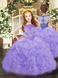 Sleeveless Organza Floor Length Zipper Pageant Gowns in Lavender with Beading and Ruffles and Pick Ups