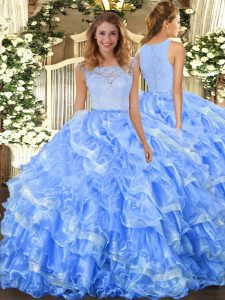 Perfect Scoop Sleeveless Vestidos de Quinceanera Floor Length Lace and Ruffled Layers Light Blue Organza