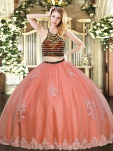 Discount Coral Red Sleeveless Floor Length Beading and Appliques Zipper 15 Quinceanera Dress