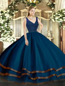 Captivating Floor Length Backless Quinceanera Dresses Navy Blue for Military Ball and Sweet 16 and Quinceanera with Beading and Lace and Ruffled Layers