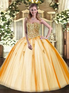 Gold Sleeveless Tulle Lace Up Quince Ball Gowns for Military Ball and Sweet 16 and Quinceanera