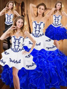 Discount Floor Length Lace Up Ball Gown Prom Dress Blue And White for Military Ball and Sweet 16 and Quinceanera with Embroidery and Ruffles