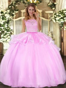 Floor Length Lilac Sweet 16 Dresses Organza Sleeveless Lace