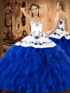 Elegant Floor Length Blue And White Sweet 16 Quinceanera Dress Satin and Organza Sleeveless Embroidery and Ruffles