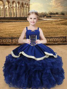 Blue Lace Up Pageant Gowns For Girls Beading and Ruffles Sleeveless Floor Length