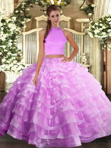 Lilac Backless Quinceanera Gown Beading and Ruffled Layers Sleeveless Floor Length