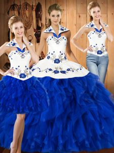 Blue And White Satin and Organza Lace Up Halter Top Sleeveless Floor Length Quinceanera Gowns Embroidery
