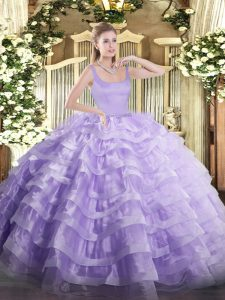 Popular Sleeveless Organza Floor Length Zipper Sweet 16 Dress in Lavender with Beading and Ruffled Layers