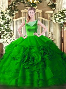 Elegant Sleeveless Floor Length Beading and Ruffled Layers Zipper Sweet 16 Quinceanera Dress with Green