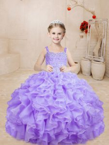 Lavender Organza Lace Up Pageant Dress for Teens Sleeveless Floor Length Beading and Ruffles