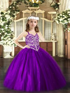 Sleeveless Floor Length Beading Lace Up Pageant Dresses with Purple