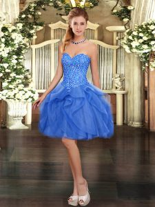 Beautiful Mini Length Ball Gowns Sleeveless Blue Dress for Prom Lace Up