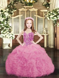 New Arrival Organza Spaghetti Straps Sleeveless Lace Up Beading and Ruffles and Pick Ups Kids Formal Wear in Rose Pink