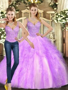 Lilac Sleeveless Beading and Ruffles Floor Length Quince Ball Gowns