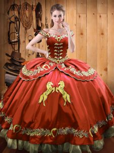 Comfortable Rust Red Casual Dresses Sweet 16 and Quinceanera with Beading and Embroidery Off The Shoulder Sleeveless Lace Up