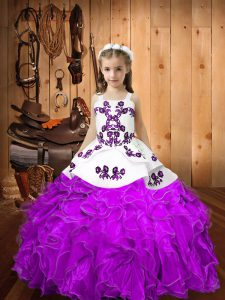 Sweet Ball Gowns Pageant Gowns For Girls Eggplant Purple Straps Organza Sleeveless Floor Length Lace Up