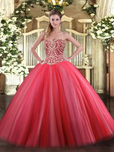 Floor Length Coral Red Quinceanera Dresses Tulle Sleeveless Beading