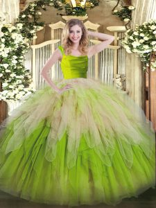 Charming Yellow Green Straps Neckline Lace and Ruffles 15 Quinceanera Dress Sleeveless Zipper