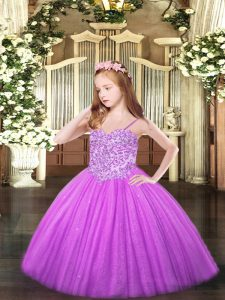 Lilac Sleeveless Floor Length Appliques Lace Up Kids Formal Wear