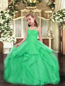 Turquoise Ball Gowns Straps Sleeveless Organza Floor Length Lace Up Beading and Ruffles Pageant Dress for Girls