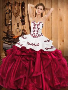 Fantastic Burgundy Satin and Organza Lace Up Strapless Sleeveless Floor Length Sweet 16 Quinceanera Dress Embroidery and Ruffles