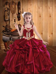 Affordable Floor Length Red Little Girl Pageant Dress Organza Sleeveless Embroidery and Ruffles