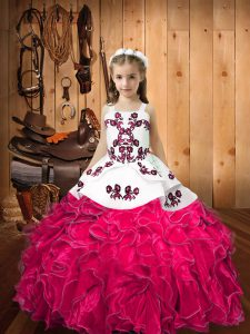 Latest Ball Gowns High School Pageant Dress Hot Pink Straps Organza Sleeveless Floor Length Lace Up
