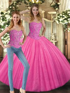 Floor Length Hot Pink Ball Gown Prom Dress Sweetheart Sleeveless Lace Up