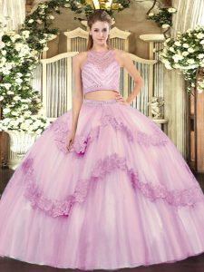 Luxury Two Pieces 15 Quinceanera Dress Lilac Scoop Tulle Sleeveless Floor Length Zipper