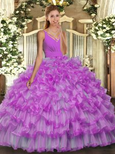 V-neck Sleeveless Quince Ball Gowns Floor Length Beading and Ruffles Lilac Organza