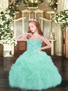 Custom Fit Apple Green Ball Gowns Beading and Ruffles and Pick Ups Pageant Gowns Lace Up Organza Sleeveless Floor Length