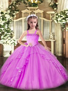Cute Sleeveless Appliques and Ruffles Lace Up Winning Pageant Gowns