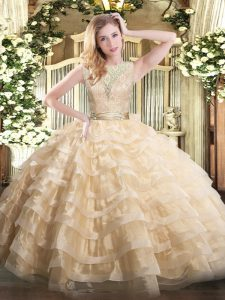 Champagne Sleeveless Lace and Ruffled Layers Floor Length Ball Gown Prom Dress