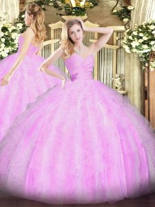 Colorful Ball Gowns Quinceanera Gowns Lilac Sweetheart Organza Sleeveless Floor Length Lace Up