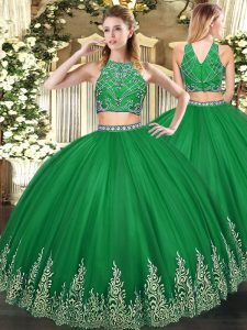 Sleeveless Tulle Floor Length Zipper Quinceanera Dresses in Dark Green with Beading and Ruffles