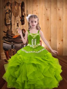Floor Length Ball Gowns Sleeveless Olive Green Glitz Pageant Dress Lace Up