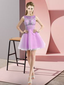 Dramatic Lilac A-line Beading and Bowknot Prom Gown Zipper Chiffon Sleeveless Mini Length
