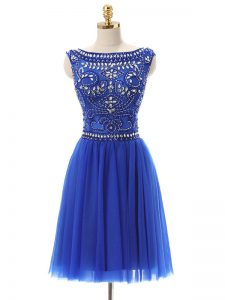 Bateau Sleeveless Tulle Prom Gown Beading Zipper