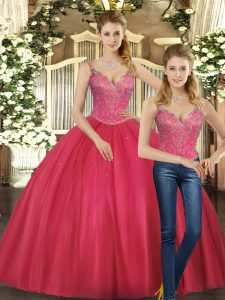 Latest Floor Length Two Pieces Sleeveless Hot Pink Sweet 16 Quinceanera Dress Lace Up