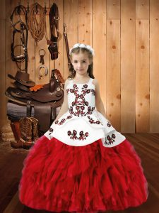 Red Straps Lace Up Embroidery and Ruffles Little Girl Pageant Gowns Sleeveless
