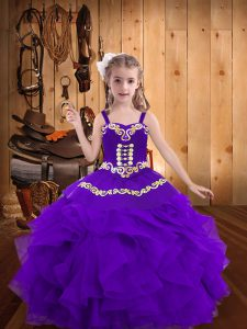 Eggplant Purple Sleeveless Embroidery and Ruffles Floor Length Little Girl Pageant Gowns