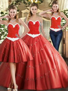 Captivating Sleeveless Tulle Floor Length Lace Up Quinceanera Gown in Coral Red with Beading
