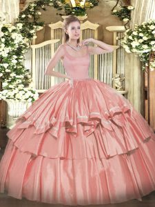 Taffeta Straps Sleeveless Zipper Beading and Ruffled Layers Sweet 16 Dress in Coral Red